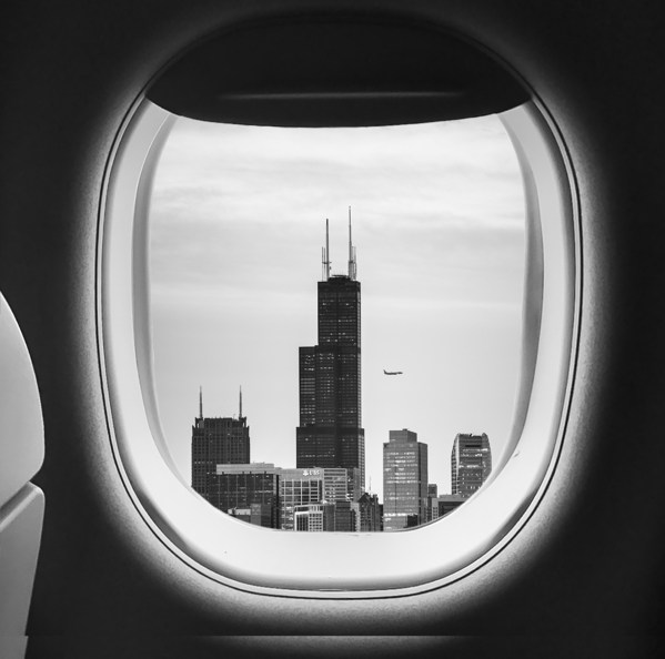 Chicago skyline from an airplane window