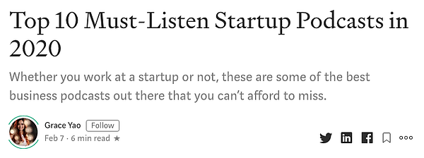 Top 10 Startup Podcast